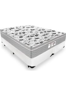 Cama Box Queen + Colchão De Molas Ensacadas - Probel - Evolution 158X198X67Cm Branco