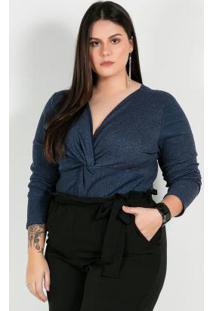 Body Plus Size Azul De Malha Canelada