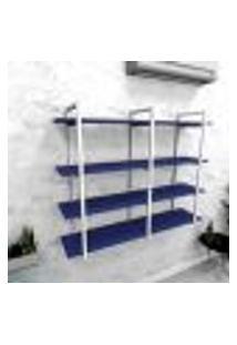 Estante Industrial Escritório Aço Cor Branco 120X30X98Cm (C)X(L)X(A) Cor Mdf Azul Modelo Ind43Azes