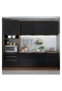 Cozinha Completa Madesa Lux Com Armário E Balcão 7 Portas 3 Gavetas - Rustic/Preto