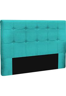 Cabeceira Slim Queen 160Cm Decor Magazine Suede Azul Tiffany