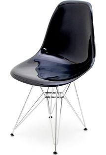 Cadeira Eames Policarbonato Preto Base Cromada - 17850 - Sun House
