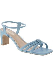 Sandália Gabriela Salto Reto Tiras Azul Azul