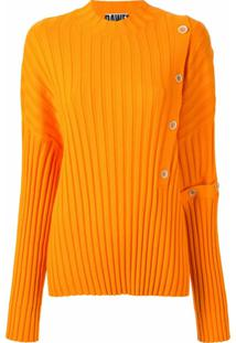 Dawei Suéter Canelado Com Botões - Laranja