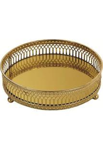 Bandeja Mart De Metal Com Espelho Dourada Rory Pequeno 7149