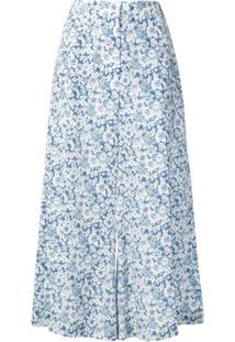 Stella Mccartney Calça Pantacourt Floral - Azul
