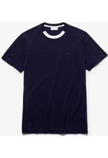 Camiseta Lacoste Decote Careca Masculina - Masculino-Marinho+Branco