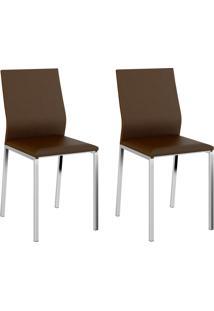 Kit 2 Cadeiras 1804 Cacau/Cromado - Carraro Móveis