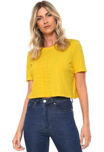 Camiseta Cropped Lança Perfume Lettering Amarela