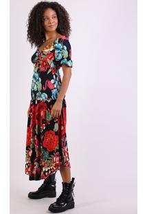 Vestido Feminino Floral Longo Manga Curta Decote V Preto