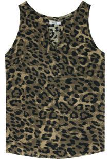 Blusa Estampada Em Crepe Animal Print
