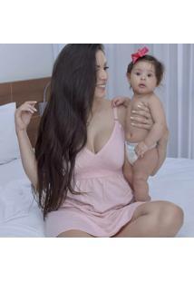 Camisola Para Amamentação Em Malha Rosa Bebê P - Ct17 Dica De Lingerie