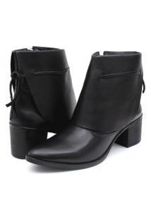 Bota Ankle Boot Couro Venetto Feminina Salto Quadrado Lapela Preto