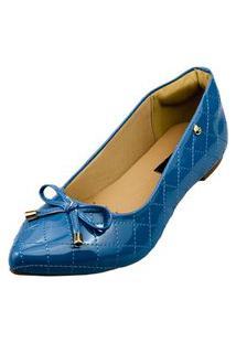 Sapatilha Bico Fino Love Shoes Matelasse Laçinho Verniz Azul