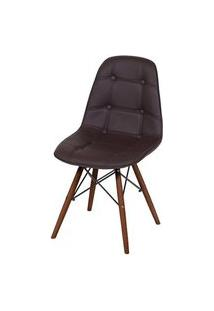 Cadeira Eames Botone Marrom Base Escura - 44874 Preto