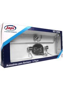Kit Acessórios 5 Peças Quadrado Casa Cromado - Japi - Japi