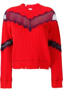 Pinko Sheer Lace Jumper - Vermelho
