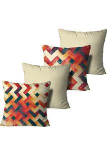 Kit 4 Capas Love Decor Para Almofadas Decorativas Abstrato Multicolorido Bege