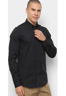 Camisa Manga Longa Tommy Hilfiger Masculina - Masculino-Preto