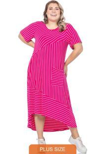 Vestido Feminino Listrado Com Recortes Pink