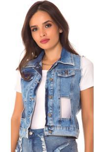 Colete Jeans Express Vazado Azul - Kanui