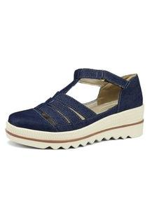Sandália Sapatofran Flatform Em Jeans Azul