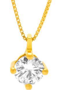 Pingente Solitário Ouro Amarelo E 40 Pontos De Diamantes