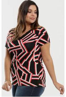 Blusa Feminina Estampa Geométrica Plus Size