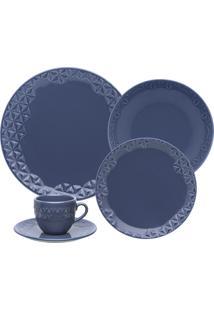 Aparelho De Jantar/Chá 20 Peças Oxford Mia Maré Porcelana Azul