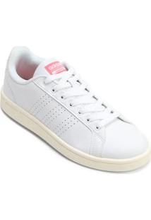 Tênis Couro Adidas Cf Advantage Clean Feminino - Feminino-Branco+Rosa