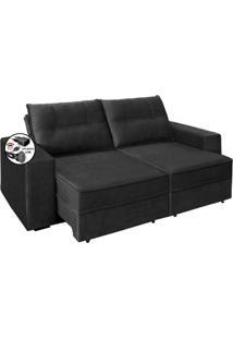 Sofa 2 Lugares Retratil Reclinavel Versatile 2,00 M Com Usb Suede Cinza