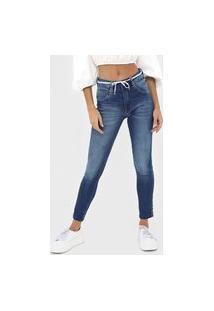 Calça Cropped Jeans Biotipo Skinny Ilhoses Azul
