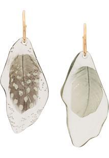 Forte Forte Plexiglass Earrings With Feathers - Verde