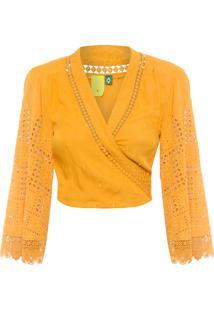 Blusa Feminina Cropped Transpassada Laise - Amarelo