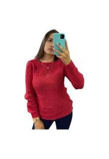 Blusa Feminina De Tricô Grosso Inverno Moda Gola Vermelho