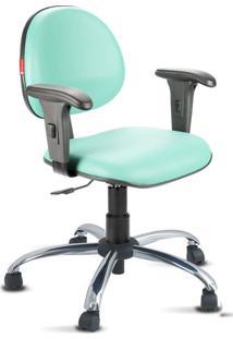 Cadeira Escritório Verde Água Cromada Com Braços