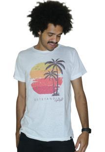 Camiseta Outstanding Coqueiro Pôr Do Sol Off White