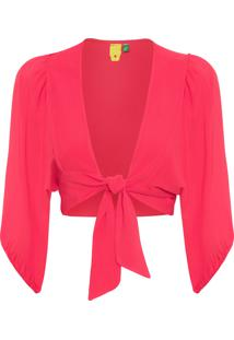 Blusa Feminina Cropped Pala Frente - Vermelho
