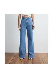 Calça Wide Leg Jeans Com Barra Larga