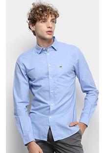 Camisa Manga Longa Tommy Jeans Solid Poplin Shirt Masculina - Masculino-Azul