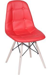 Cadeira Eames Botonãª- Vermelha & Madeira Clara- 83X4Or Design
