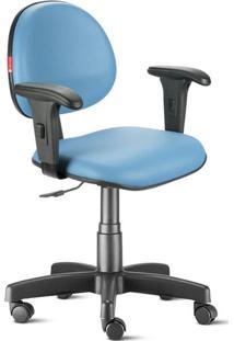 Cadeira Escritório Azul Céu Com Braços Executiva