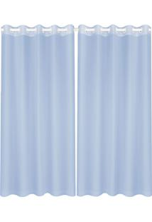 Cortina Lava Fácil Voil Duo 2,80X2,50M – Marka Têxtil - Azul