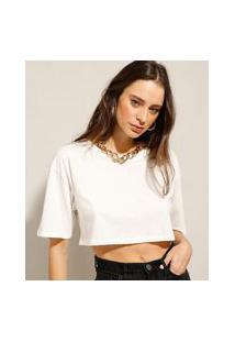 Camiseta Box Cropped Básica De Algodão Manga Curta Decote Redondo Off White