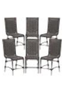 Cadeiras 6Un Para Area Varanda Fibra Sintetica Sala Cozinha Jardim Sacada Sevilha - Tabaco