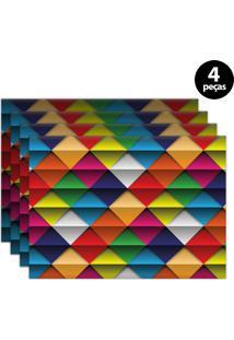 Jogo Americano Mdecore Geométrico 40X28Cm Vermelho 4Pçs
