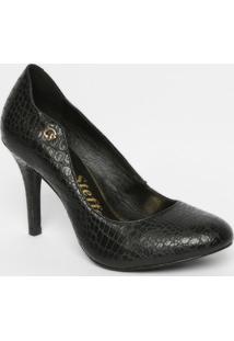 Sapato Tradicional Texturizado Em Couro - Preto - Sacarmen Steffens