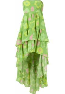 Adriana Degreas Vestido Mullet De Seda Estampado - Verde