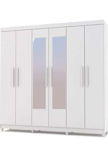 Guarda-Roupa Casal Palmas Branco 6 Portas 3 Gavetas Interior E Espelho - Vila Rica