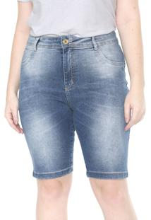 Bermuda Jeans Plus Size Da Mix Jeans Azul - Azul - Feminino - Dafiti